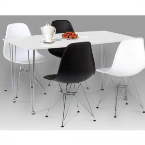 Bianca Wooden Dining Table In White High Gloss With Steel Chrome Legs