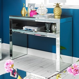 Biarritz Mirrored Console Table With 1 Drawer
