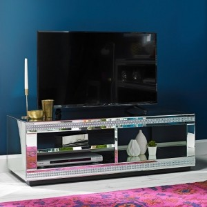 Biarritz Mirrored TV Unit With Shelves