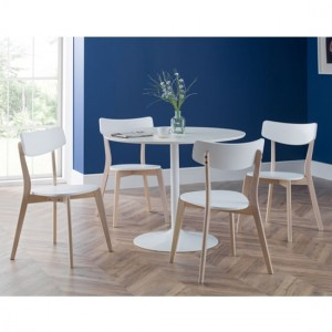 Blanco Round Wooden Dining Table In White With 4 Casa Chairs