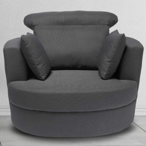 Bliss Large Linen Fabric Swivel Chair In Grey