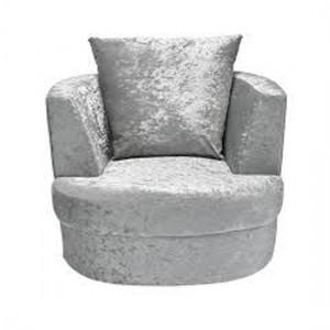 Bliss Small Crushed Velvet Swivel Chair In Silver