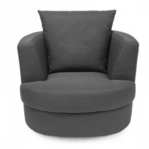 Bliss Small Linen Fabric Swivel Chair In Grey