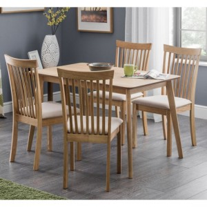 Boden Wooden Dining Table In Biscuit With 4 Ibsen Chairs