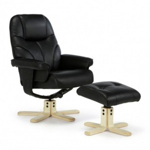 Bodo PU Leather Recliner Chair In Black With Wooden Base