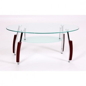 Bolivia Glass Coffee Table With Mahogany Wooden And Metal Legs
