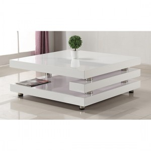 Borneo Coffee Table White High Gloss With Stainless Steel Legs