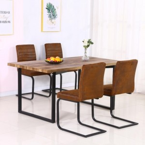 Boston Wooden Dining Set In Oak Effect With 4 Brown Fabric Chairs