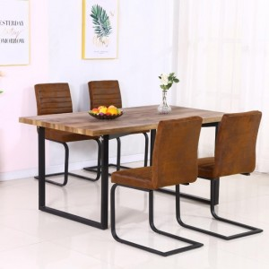 Boston Wooden Dining Table In Natural With Black Metal Legs