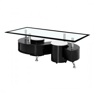 Boule Glass Coffee Table With Black Border And Black High Gloss Base