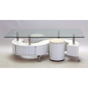 Boule Glass Coffee Table With White Border And White High Gloss Base