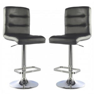 Bowden Black Faux Leather Bar Stools In Pair With Chrome Base