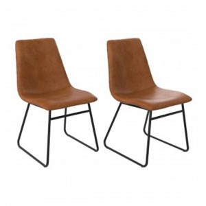 Bowden Caramel Maple Faux Leather Upholstered Dining Chairs In Pair