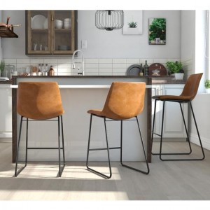Bowden Faux Leather Bar Stool In Caramel Maple