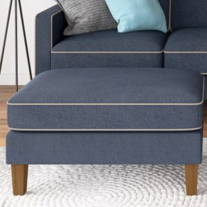 Bowen Chenile Fabric Ottoman In Blue And Beige With Contrast Welting
