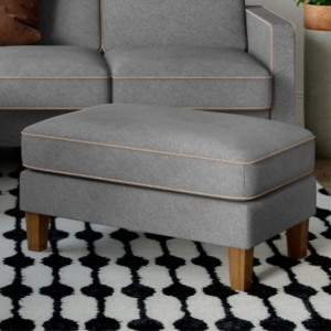 Bowen Chenile Fabric Ottoman In Grey And Beige With Contrast Welting