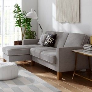 Bowen Corner Chenile Fabric Sofa In Grey And Beige With Contrast Welting