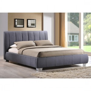 Braunston Faux Leather King Size Bed In Grey