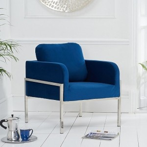 Breva Blue Velvet Bedroom Chair With Chrome Metal Legs