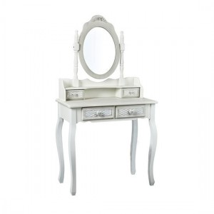 Brittany Dressing Mirror In White And Grey Wooden Frame