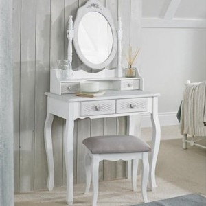 Brittany Dressing Set With Stool In White And Grey