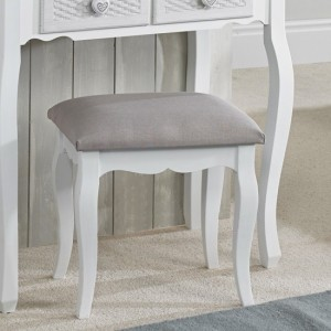 Brittany Dressing Stool In White And Grey