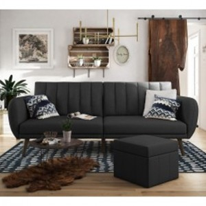 Brittany Linen Fabric Sofa Bed In Dark Grey With Wooden Legs
