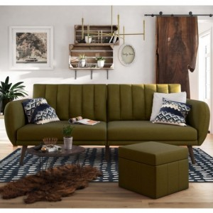 Brittany Linen Fabric Sofa Bed In Green With Wooden Legs