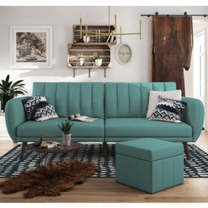 Brittany Linen Fabric Sofa Bed In Light Blue With Wooden Legs