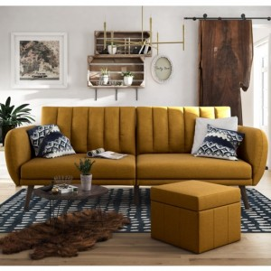 Brittany Linen Fabric Sofa Bed In Mustard With Wooden Legs