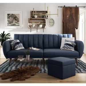Brittany Linen Fabric Sofa Bed In Navy Blue With Wooden Legs