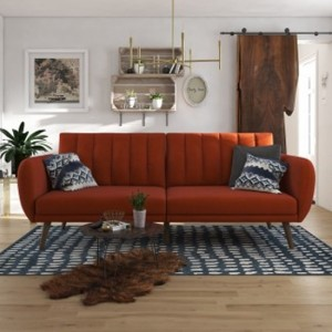 Brittany Linen Fabric Sofa Bed In Orange With Wooden Legs