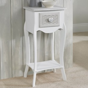 Brittany Wooden 1 Drawers Bedside Table In White And Grey