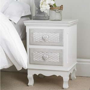Brittany Wooden 2 Drawers Bedside Cabinet In White And Grey