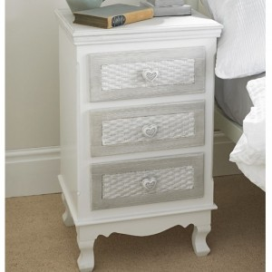 Brittany Wooden 3 Drawers Bedside Cabinet In White And Grey