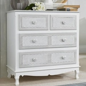 Brittany Wooden Chest Of Drawers In White And Grey