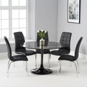Brittney 120cm Black Marble Effect Round Dining Table With 6 California Black Chairs