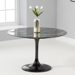 Brittney 120cm Round Dining Table In Black Marble Effect