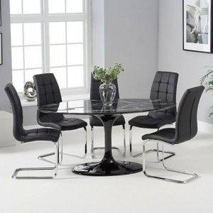 Brittney 160cm Black Marble Effect Oval Dining Table With 6 California Black Chairs