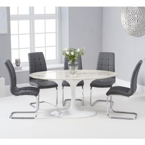 Brittney 160cm White Marble Effect Oval Dining Table With 6 California Grey Chairs