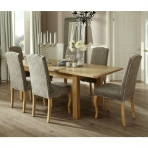 Bromley Extending Dining Table In Oak With 6 Bark Fabric Kensington Chairs