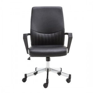 Brooklyn Designer Faux Leather Low Back Office Chair In Black