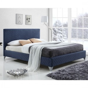 Brooklyn Fabric Upholstered Double Bed In Blue