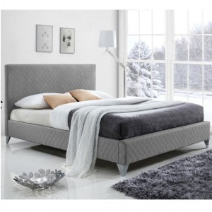 Brooklyn Fabric Upholstered Double Bed In Grey