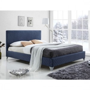 Brooklyn Fabric Upholstered King Size Bed In Blue