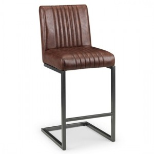 Brooklyn Faux Leather Bar Stool In Brown With Black Metal Legs
