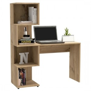 Brooklyn Wooden Computer Desk With Tall Shelving Unit In Bleached Pine Effect