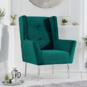 Brooklyn Velvet Upholstered Bedroom Chair In Green