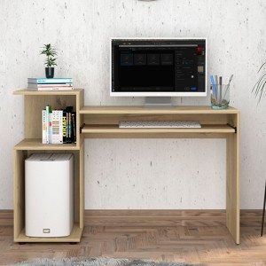 Brooklyn Wooden Computer Desk With Low Shelving Unit In Bleached Pine Effect