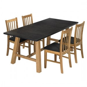 Brooklyn Wooden Dining Set Grey And Oak With 4 Chairs